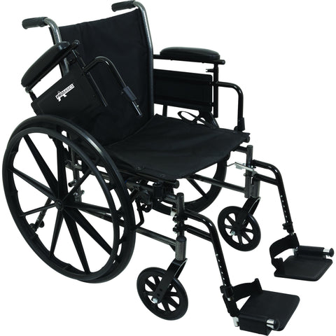 "Compass Health: ProBasics K3 Lightweight Wheelchair with 20"" x 16"" Seat, Flip-Up Height Adj Desk Arms, Elevating Legrests - WC32016DE Removable Arms rest"