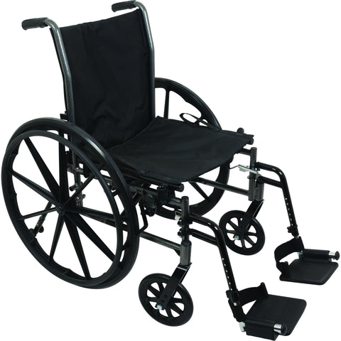 "Compass Health: ProBasics K3 Lightweight Wheelchair with 16"" x 16"" Seat, Flip-Up Height Adj Desk Arms, Elevating Legrests - WC31616DE With Out Arms rest"