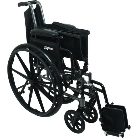 "Compass Health: ProBasics High Performance Lightweight K0004 Wheelchair, 18"" x 16"" Seat with Elevating Leg Rests, 300 lb Weight Capacity - WC41816DE Folding View"