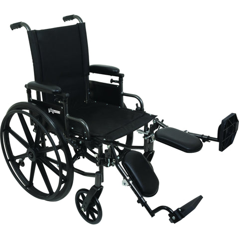 "Compass Health: ProBasics High Performance Lightweight K0004 Wheelchair, 16"" x 16"" Seat with Elevating Leg Rests, 300 lb Weight Capacity - WC41616DE Main View"