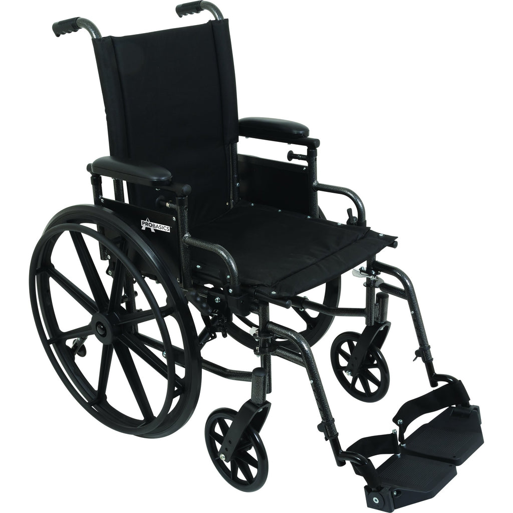 "Compass Health: ProBasics High Performance Lightweight K0004 Wheelchair, 20"" x 16"" Seat with Swing-Away Footrests, 300 lb Weight Capacity - WC42016DS Main View"