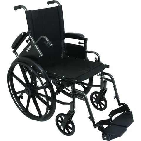 "Compass Health: ProBasics High Performance Lightweight K0004 Wheelchair, 18"" x 16"" Seat with Swing-Away Footrests, 300 lb Weight Capacity - WC41816DS Removable Arms rest"