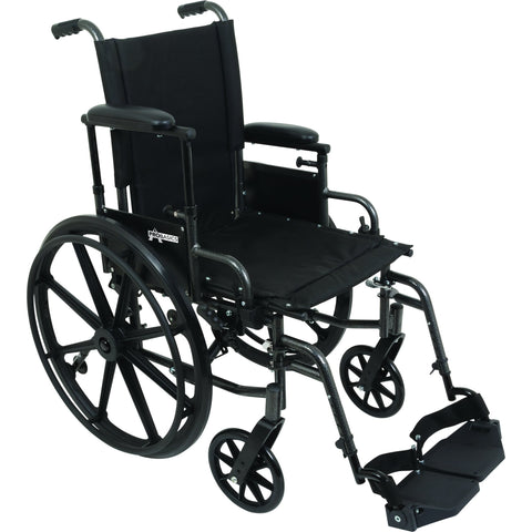 "Compass Health: ProBasics High Performance Lightweight K0004 Wheelchair, 18"" x 16"" Seat with Elevating Leg Rests, 300 lb Weight Capacity - WC41816DE Up Arms rest"