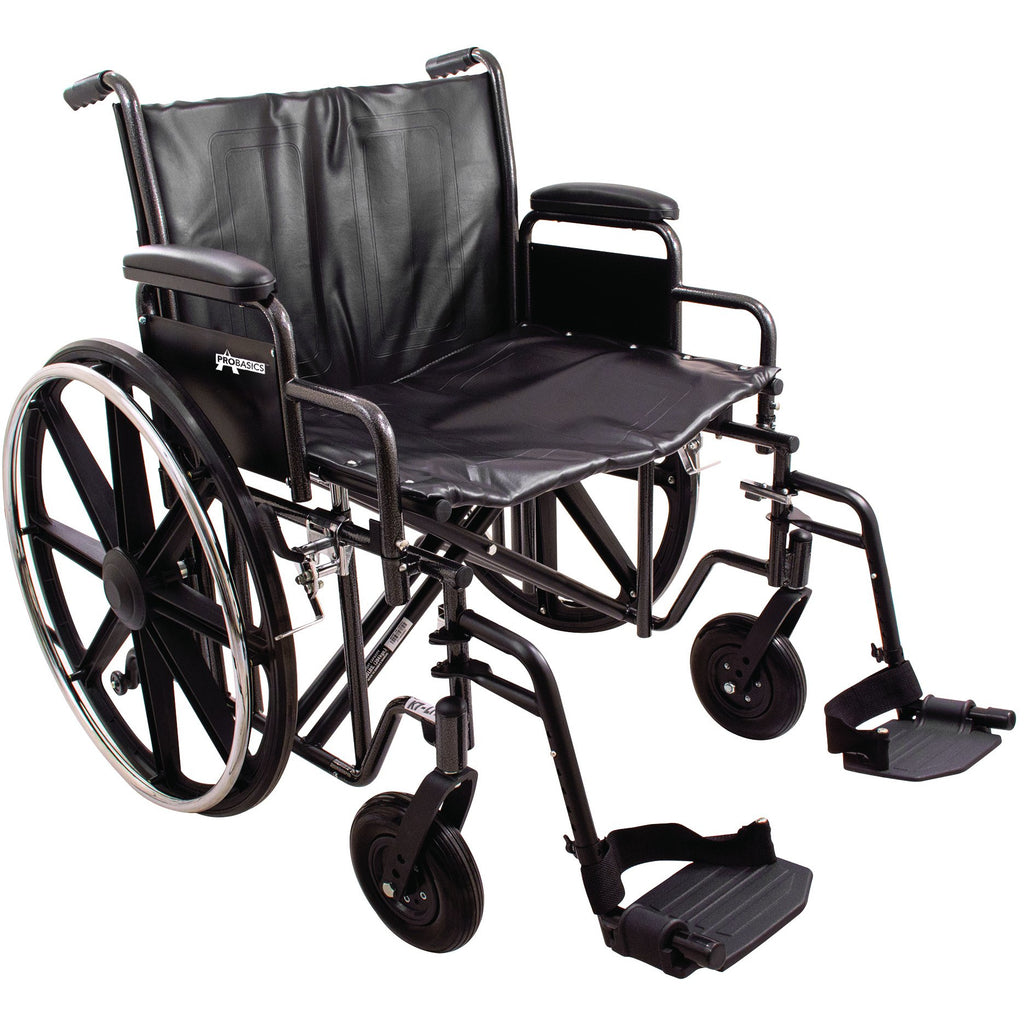 "Compass Health: ProBasics Heavy Duty K0007 Wheelchair, 22"" x 18"" Seat with Footrests, 450 lb Weight Capacity - WC72218DS Main View"