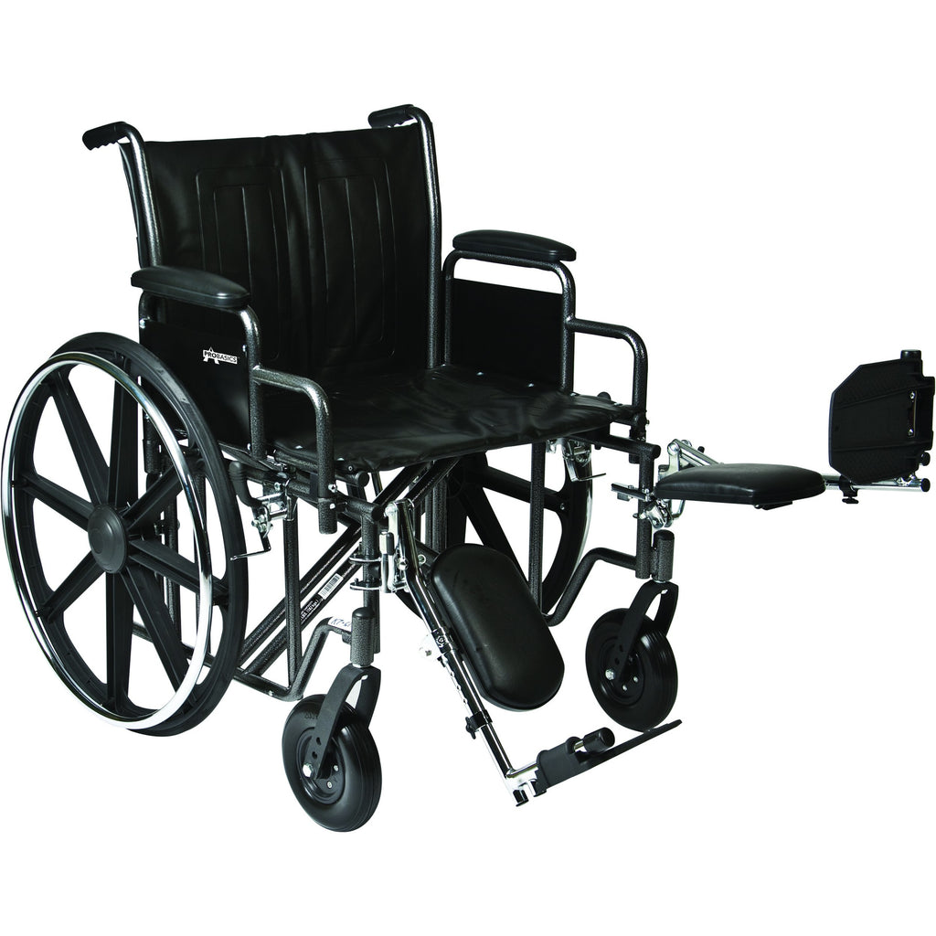 "Compass Health: ProBasics Heavy Duty K0007 Wheelchair, 26"" x 20"" Seat with Footrests, 500 lb Weight Capacity - WC72620DS Main View"
