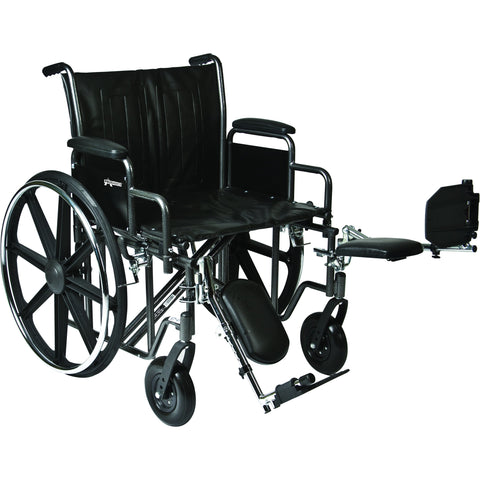 "Compass Health: ProBasics Heavy Duty K0007 Wheelchair, 28"" x 20"" Seat with Footrests, 600 lb Weight Capacity - WC72820DS Main View"