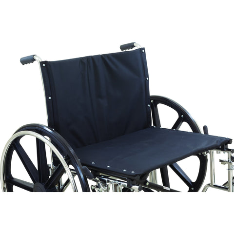 "Compass Health: ProBasics Heavy Duty K0007 Wheelchair, 28"" x 20"" Seat with Footrests, 600 lb Weight Capacity - WC72820DS Front Seat View"