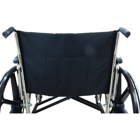 "Compass Health: ProBasics Heavy Duty K0007 Wheelchair, 28"" x 20"" Seat with Footrests, 600 lb Weight Capacity - WC72820DS Back View"