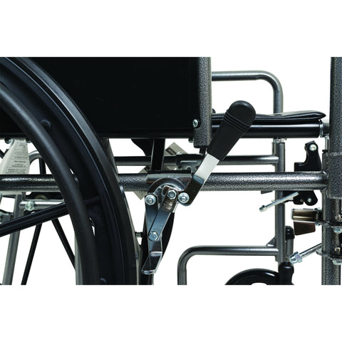 "Compass Health: ProBasics Reclining Wheelchair, 22"" x 17"", Removable Desk Arms & ELRs - WCR2218E Rear Wheel Brake"