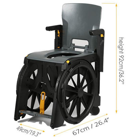 Seatara: Wheelable Travelling Commode And Shower Chair - ZMR300100 - Dimensions Overview