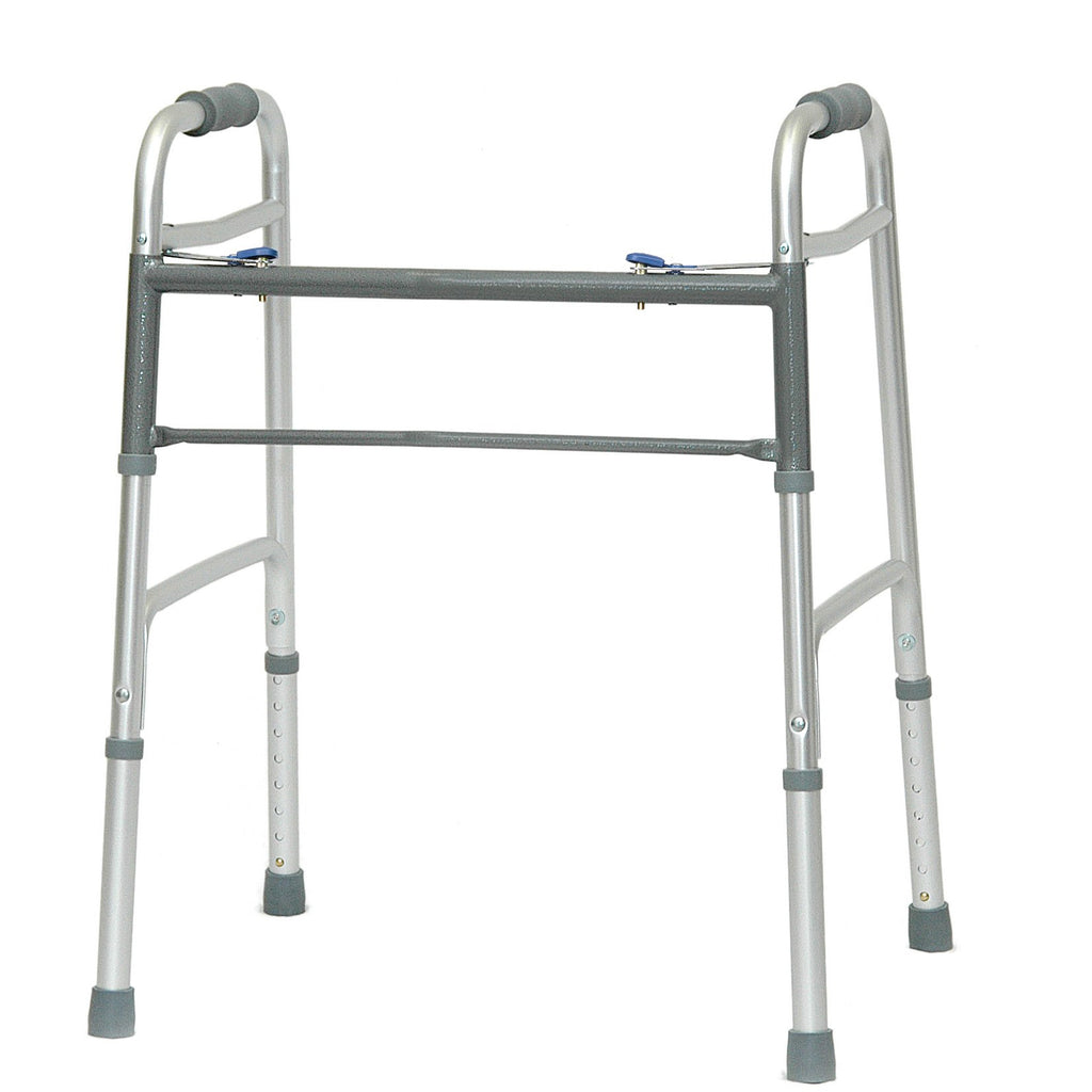 Compass Health: ProBasics Bariatric Two-Button Release Folding Walker, Aluminum, No Wheels - WKABN2B