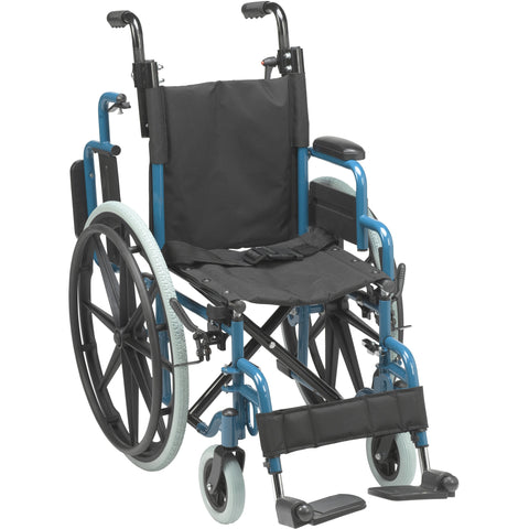 "Wallaby Pediatric Folding Wheelchair, 14"", Jet Fighter Blue - WB1400-2GJB"