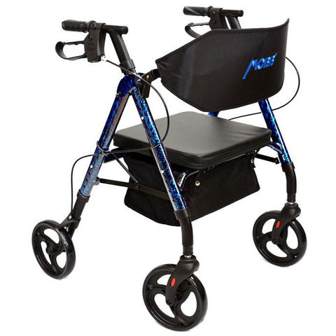 "Mobb Healthcare: Aluminum Rolling Walker 6"" Wheels - MHAR6R - Blue Color"