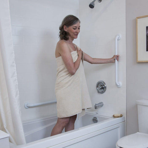 Healthcraft: Easy Mount Grab Bar with White Finishes - G125SW12F9	- Holding View
