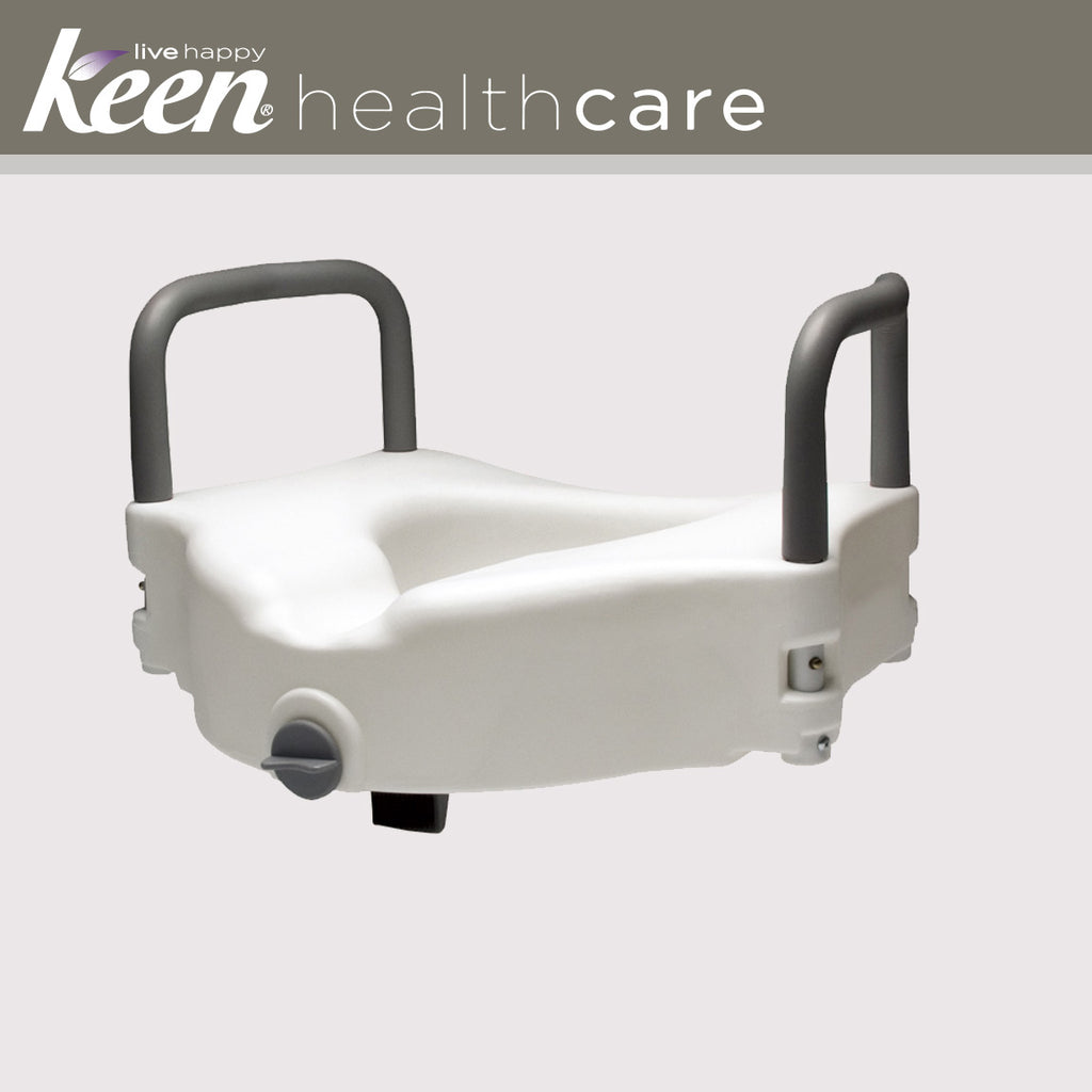 Keen Healthcare: Gf Raised Locking Toilet Seat – With Handles – EFFGF6487RA - Actual Image
