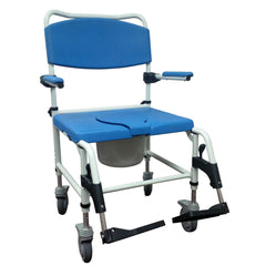 Aluminum Bariatric Rehab Shower Commode Chair with Two Rear-Locking Casters - NRS185008