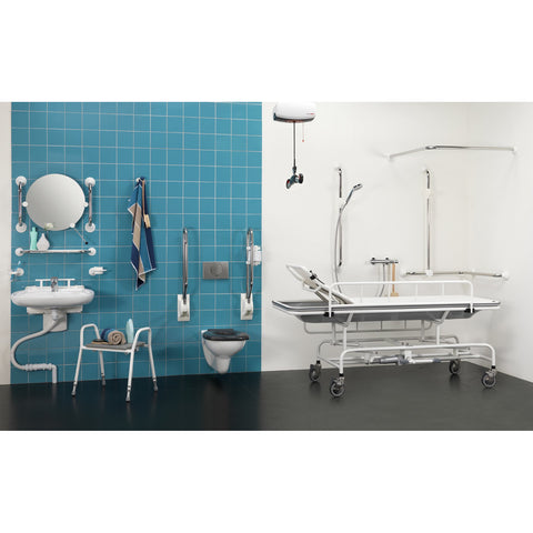Handicare: Height Adjustable Shower Trolley (Coated Stainless Steel White)