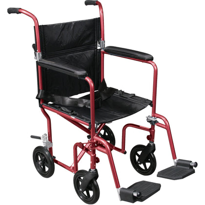 Flyweight Lightweight Transport Wheelchair with Removable Wheels, Red - RTLFW19RW-RD