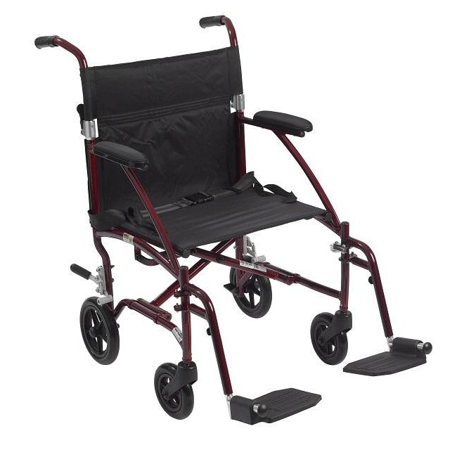 Drive Medical Fly-Lite Aluminum Transport Chair - Red Color