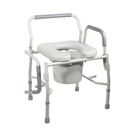 Steel Drop Arm Bedside Commode with Padded Seat and Arms - 11125PSKD-1