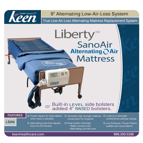 Keen Healthcare: Keen Liberty SanoAir True Low Air Loss Alternating Air Mattress with Side Air Bolsters - LSAN-35x80 - Front View