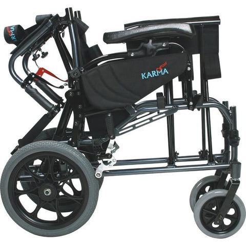 Karman Healthcare: Premium Ergonomic Folding Recliner Transport Wheelchairs – MVP-502-TP folded