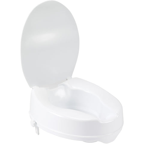 "Raised Toilet Seat with Lock and Lid, Standard Seat, 4"" - 12065"