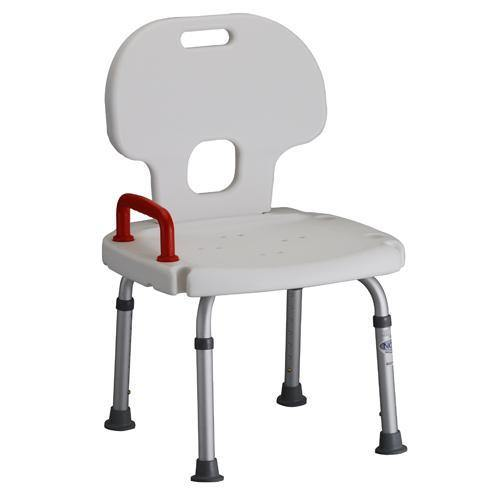 Nova Bath Bench with Back and Red Safety Handle