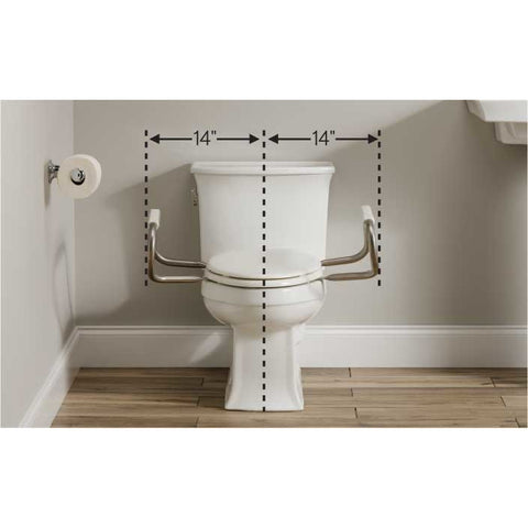 "Bemis Independence: Hinged Toilet Seat With Support Arms - 28"" Inch Width Between 2 Arms"