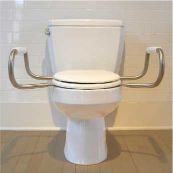 Bemis Independence: Hinged Toilet Seat With Support Arms - Front View
