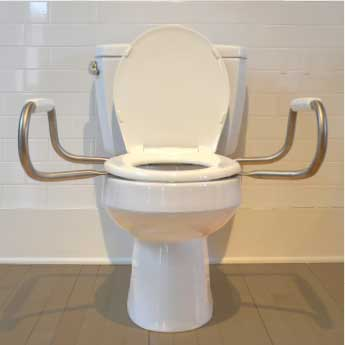 Bemis Independence: Hinged Toilet Seat With Support Arms - Front View With Open Seat Cover