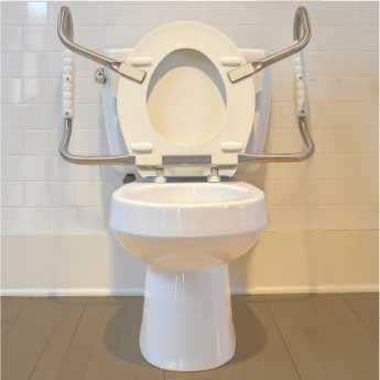 Bemis Independence: Hinged Toilet Seat With Support Arms - Front View With Seat Cover & Support Arms Open