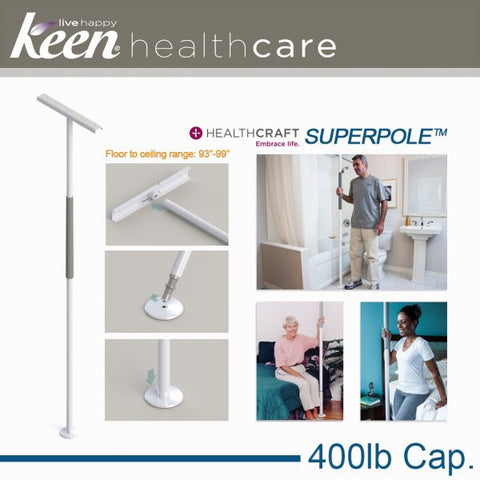 Keen Healthcare: HealthCraft® Bariatric SuperPole™ Transfer Safety Pole - HCSPB-HD - Adjustment View