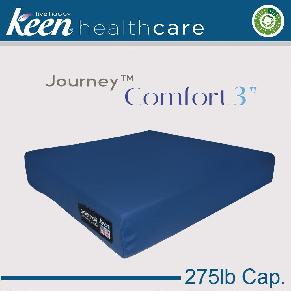 Keen Healthcare: Keen® Journey™- Comfort Wheelchair Cushion (3″/275lb cap) without Anchors - S3-16x16EZ - Blue