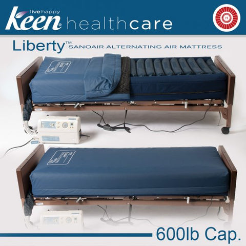 Keen Healthcare: Keen Liberty SanoAir True Low Air Loss Alternating Air Mattress with Side Air Bolsters - LSAN-35x80 - Side View