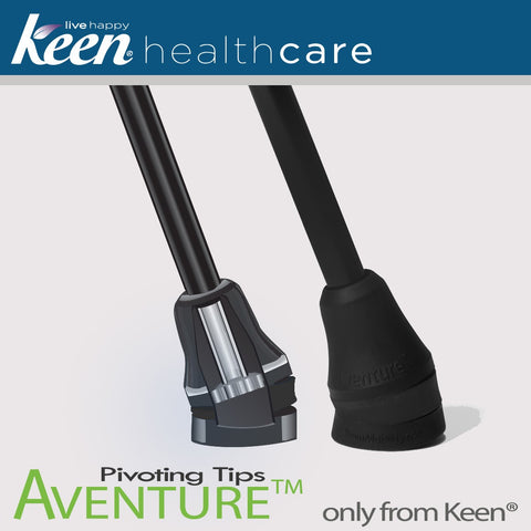 Keen Healthcare: Keen® Quest™ Shock-Absorbing Single Point Cane - QST - Pivoting Aventure Tip