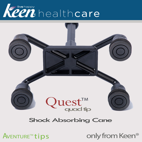 Keen Healthcare: Keen® Quest™ Shock-Absorbing Quad Cane - QQT - Bottom View