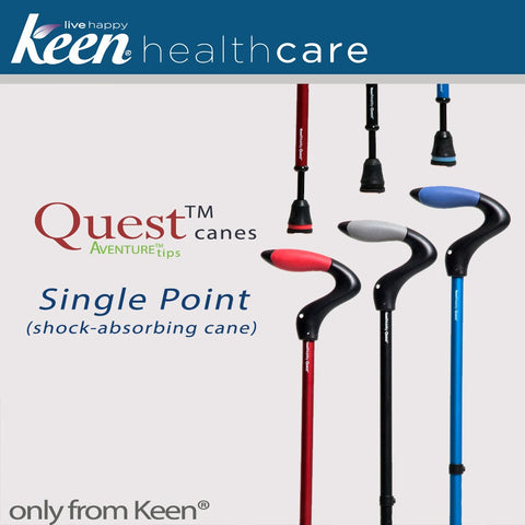 Keen Healthcare: Keen® Quest™ Shock-Absorbing Single Point Cane - QST - Handel and Aventure Tip