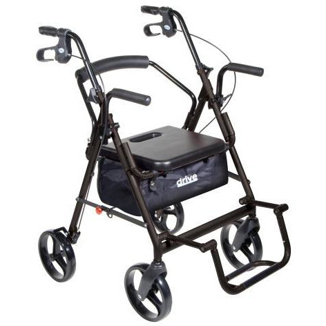 Mobb Healthcare: 4 Wheel Rollator Drive Duet Rollator/Transport Chair - DR795 - with Footrest Opening View