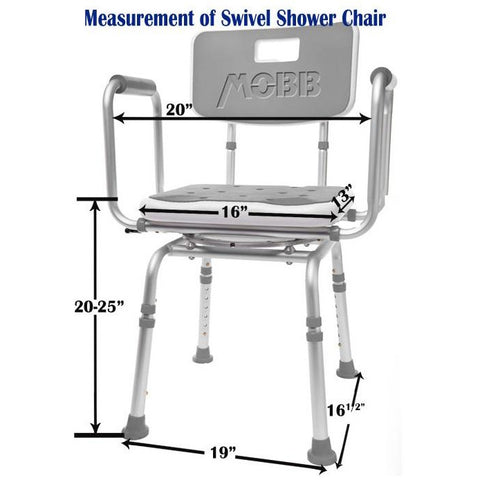 Mobb Healthcare: Swivel Shower Chair 2.0 - MHSCII - Dimensions Overview