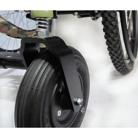 Colours: All Terrain Wheelchair (Razorblade) - Close view of Front Wheel Suspension