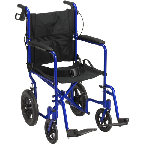 Drive Medical: Lightweight Expedition Transport Wheelchair with Hand Brakes