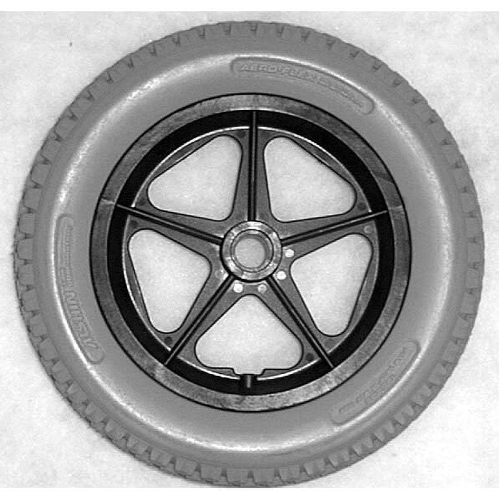 "New Solutions: 12 1/2 x 2 1/4"" 5 Spoke MAG Flush Hub Free Spin 1/2"" Axle Urethane Knobby Tire - RW021"