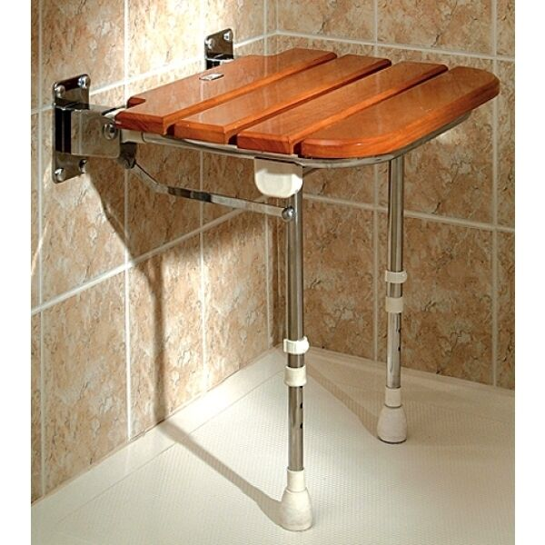 AKW: Wooden Slatted Fold-Up Shower Seat