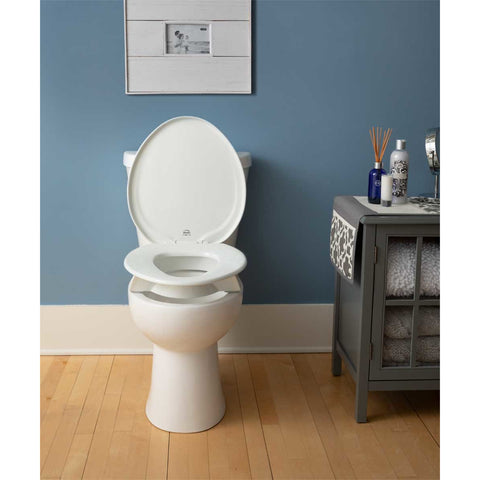 Bemis Independence: Clean Shield Elevated Toilet Seat - Front View With Open Seat Cover