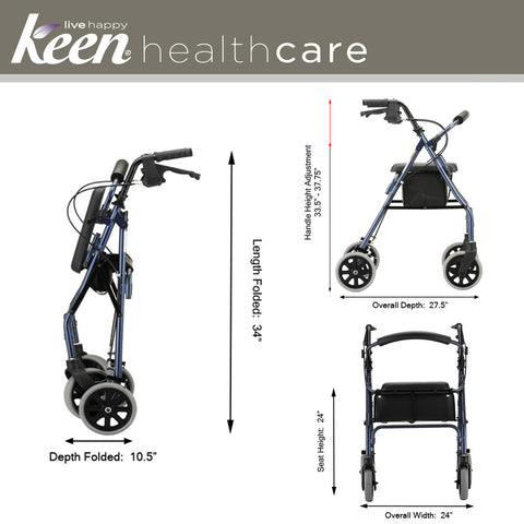 Keen Healthcare: Nova Zoom 24 Rollator - EFFNO4224 - Folding View