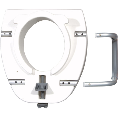 Premium Plastic Raised Toilet Seat with Lock and Padded Armrests, Elongated - 12013