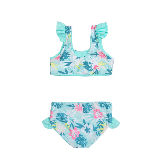 Back view of girls two piece sustainable blue floral bikini swimsuit with ruffle detail.