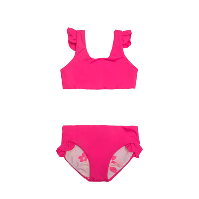 Ava Reversible Two-Piece | Dragon Fruit + Pink Plumerias