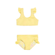 Solid yellow two piece girl's bikini swimsuit
